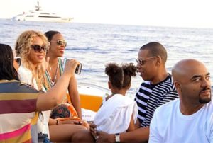 Beyonce having fun with family