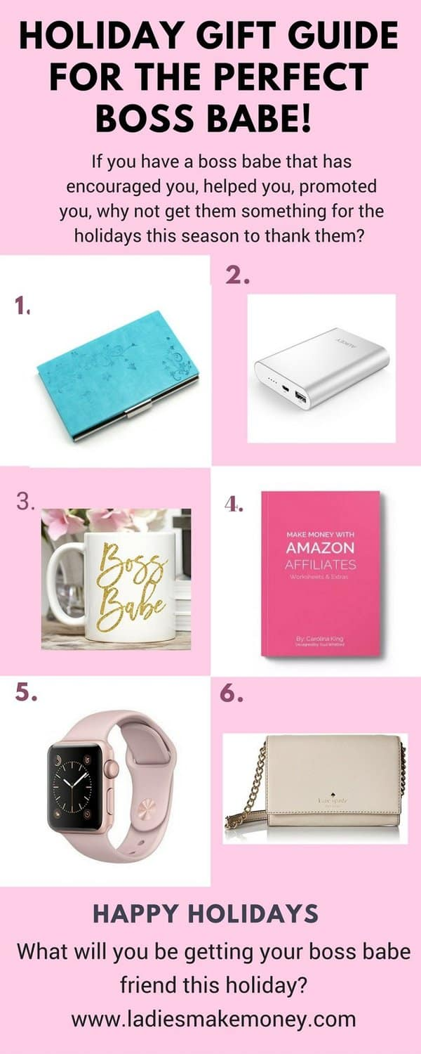The perfect gift guide for you to get that boss babe. Are you Christmas shopping? If you want to get the perfect gift for her, take a look at this holiday gift guide we created. Christmas gift ideas diy. A blog post full of ideas for Christmas gift Ideas. Christmas gift ideas diy/ cheap holiday gift ideas you can get for the women in your life. Christmas gift ideas for women, these are the perfect Christmas gift ideas for coworkers. This is the Ultimate gift guide for women for the holiday season #gifts #Christmasgift #DIY #FrugalChristmasIdeas