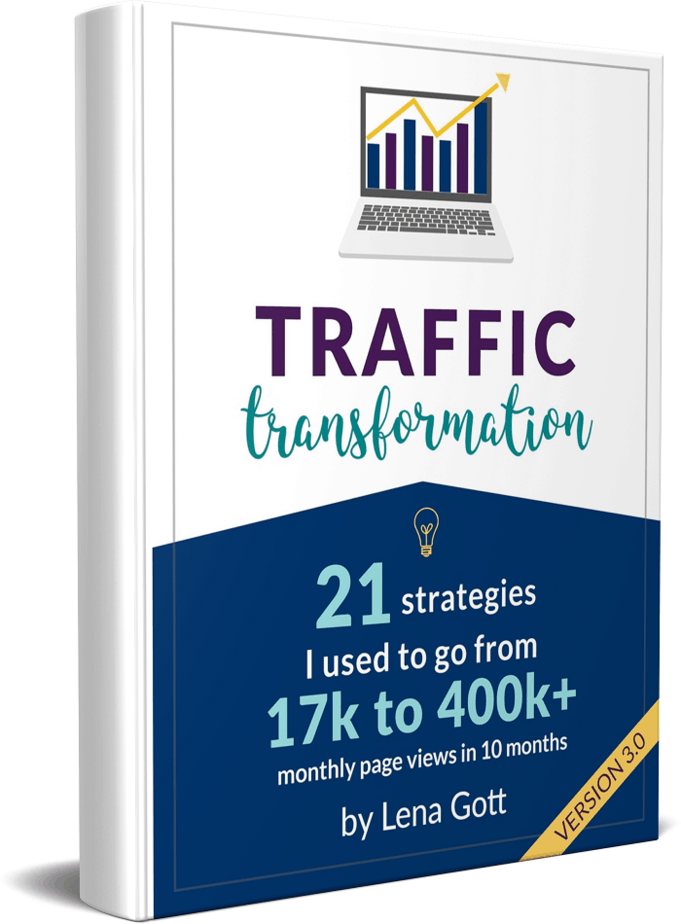 Traffic transformation guide by lena gott on how to increase your blog traffic today. Learn the tips you need to boost your blog traffic right now. #bloggingtips #blogtraffic