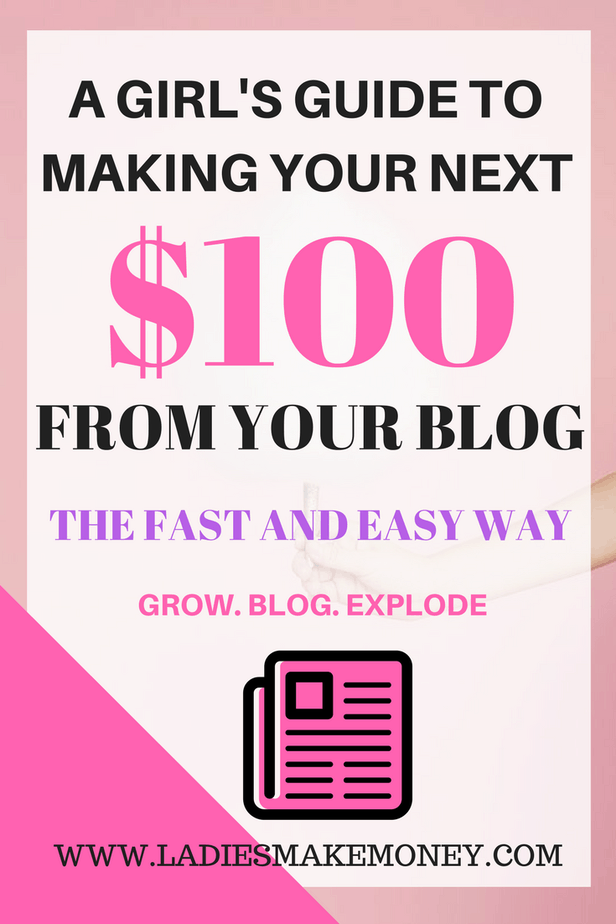 A girl's guide to making your next $100 online from your blog. A Girl's Guide to making your first $100 online with your blog, how to make money online, how to make money from your blog,. how to make money as a stay at home mom. Learn how to start a blog that will help you make money online. Use brands, sponsored posts, ads and affiliate marketing to make money from your blog. Making money with affiliate marketing is the best passive income for bloggers. Learn how bloggers make money from their blog each month. Expand your blog income by using multiple streams of income. Blog income report shows you how you can make money at home using your blog. Stay at home mums can use Pinterest to make money from their blog, Learn how you can turn $100 into $1000 and start expanding your blog income. Grow your blog traffic by using Pinterest. Pinterest is the best way to increase your blog traffic which will help you make money online. Make money from home with your blog. Increase your blog traffic today with Pinterest.