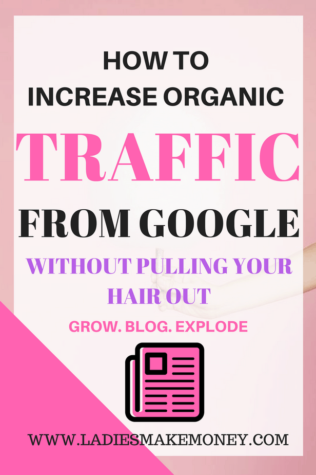 "How to Increase Organic Traffic from Google – Without Tearing Your Hair Out is our hot topic today. The question everyone wants answered is blog traffic. How do you get more blog visitors? How do you get more website visitors? How to increase organic traffic? Best ways to increase your organic traffic? Organic traffic generation using search engine optimization. Another frequent question is how can I increase visitors to my site? How do I improve my SEO ranking on Google. What keywords should I be using to get more traffic? Increasing organic traffic, you will need to use keywords that are very specific to your website, product or niche. When you do this, Google will start identifying you with these keywords and subject line which will boost your blog content in search rankings and help your ideal customers or readers find you. Blogging tips, blog SEO tips, blog SEO, SEO tips for bloggers, SEO 2017 tips. A great business isn't so great if no one knows it exists. Search Engine Optimization (SEO) is all about getting your website be found on search engine like Google, Yahoo and Bing. I'll be honest, it takes time and consistency to get your website rank higher that the competitions. Google ""Spiders"" crawling your site in order to rank. Implementing SEO on your blog can bring in TONS of organic traffic to your site if you implement it correctly. Make sure to check out the fundamentals of SEO for bloggers, so you don't miss out. This is SEO for beginners, tips on how to use SEO for your blog, how to market and grow your blog to increase blog traffic. We will help you define what SEO is. How to use keywords to increase visibility for your growing online business, How to use SEO tools on WordPress. How to start a successful blog on WordPress and increase your blog traffic using SEO. The basic guide to SEO for bloggers starting out."