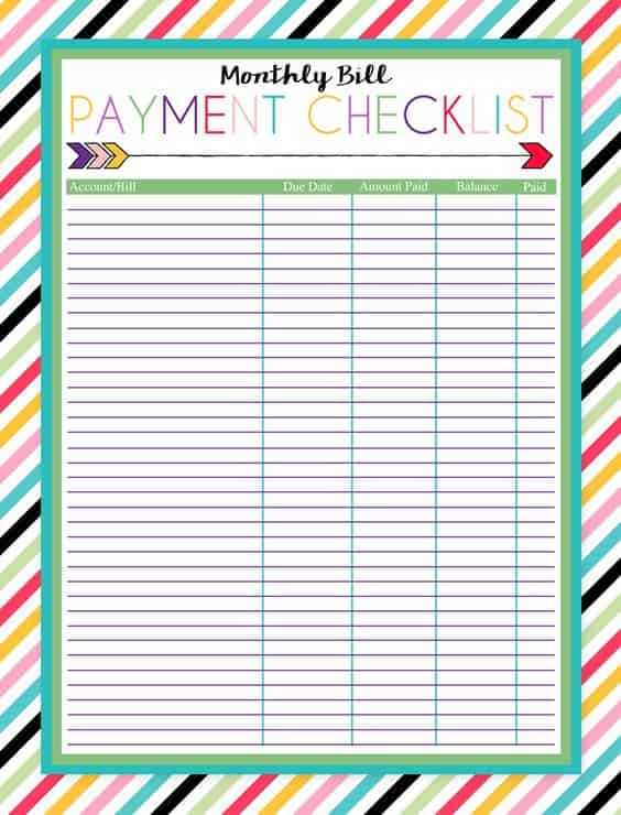 free printable monthly bill payment checklist ladies make money