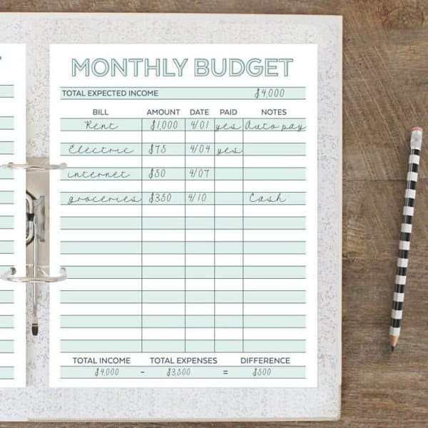 Printable Monthly Budget Planner Worksheet. Free Printable budget template to help manage your debt. Pay of your debt by budgeting monthly and saving money. Use a budget template to save money every month. Frugal Living Ideas | Monthly Budget Printable Free | Free Printable Monthly Budget Planner | Budget Worksheet | Budget Binder