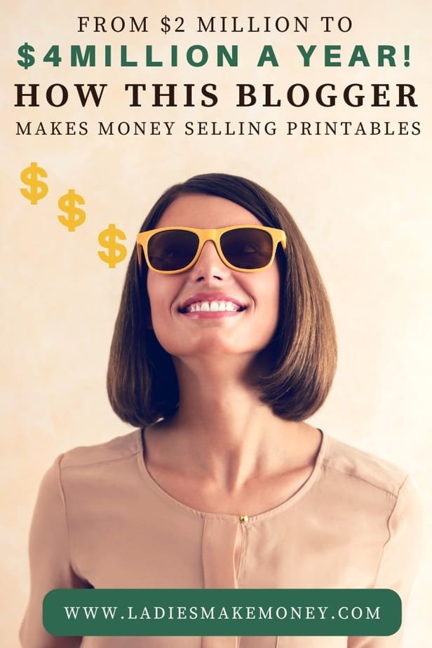 Learn exactly how to make money selling printables online on your online store. You can now make money online by selling easy to make printables. This blogger earned over $2 million with this side hustle while working from home. Here is how to create printables in Canva to sell and make money from home #makemoneyonline