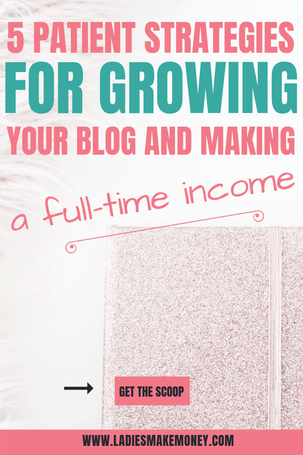 Patient Strategies For Growing Your Blog And Making a Full-Time Income. Learn How To Generate Traffic To Your Blog and make more money with your blog. A bloggers guide to growing their blog traffic #bloggingtips #blogger