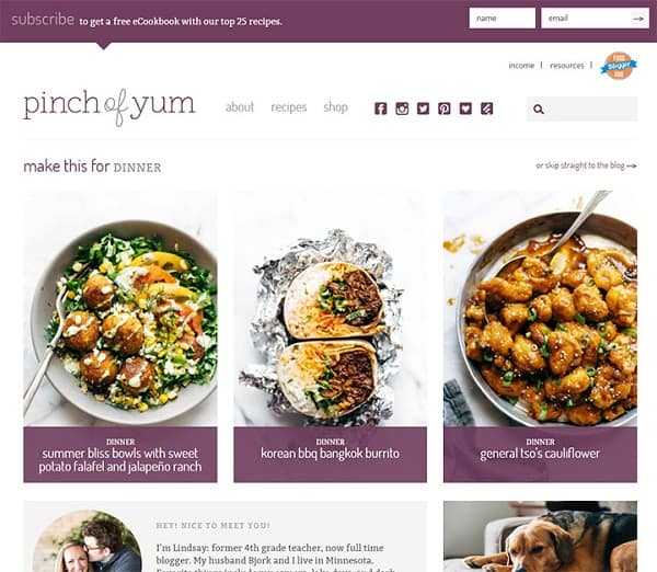 pinch of yum food blog