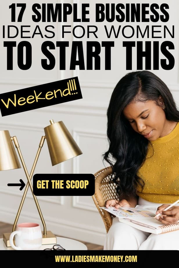 Are you looking to make extra cash fast? Looking into starting a business online today. Here are a few easy simple business ideas for women that you can start this weekend to make extra cash. Most of these business ideas for women can be started from home. #makemoneyonline #sidebusinessideas #businessideas