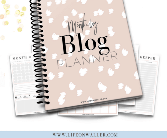 Monthly blog planner to plan your monthly blog goals.