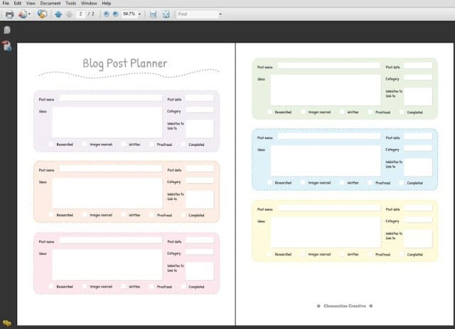 printable blog post planner