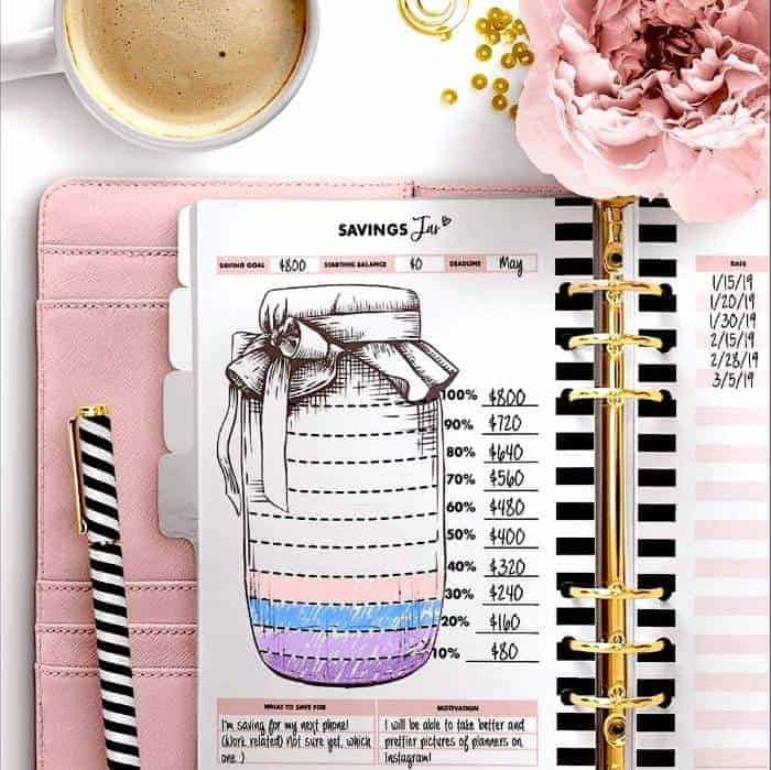 Saving money jar from Printable for planners. Grab this planner today #savingmoney #moneytips