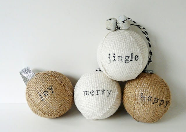 Stamped Burlap Ornaments you can make and sell during Christmas to make a Profit