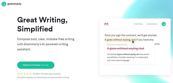 Grammarly is the best tool to help correct your writing. Use Grammarly and perfect your writing today!