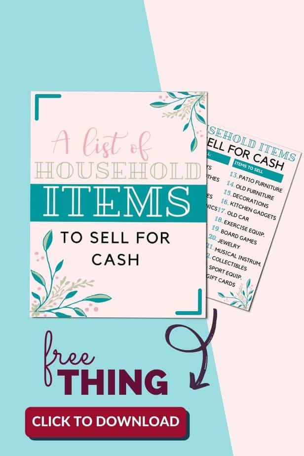 A list of household things to sell for extra cash