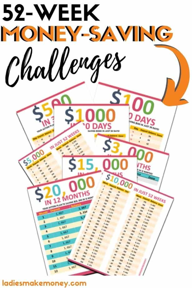 52 week money saving challenge printable (SAVE MONEY FAST) Do you want to kickstart your saving habit? A money saving challenge can do just that! Improve your finances & track them with these printables!