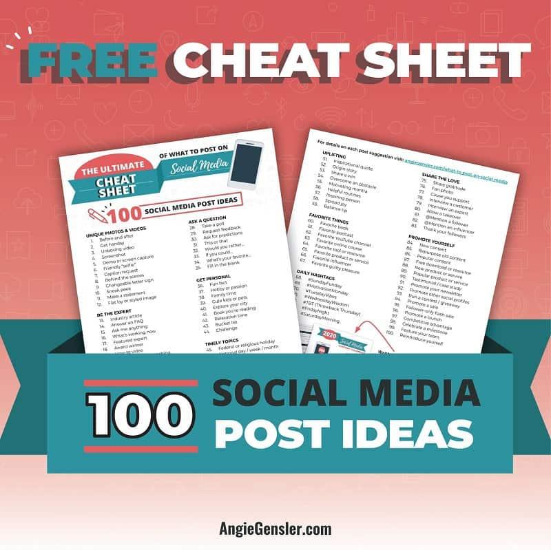 Free social media post ideas cheat sheet