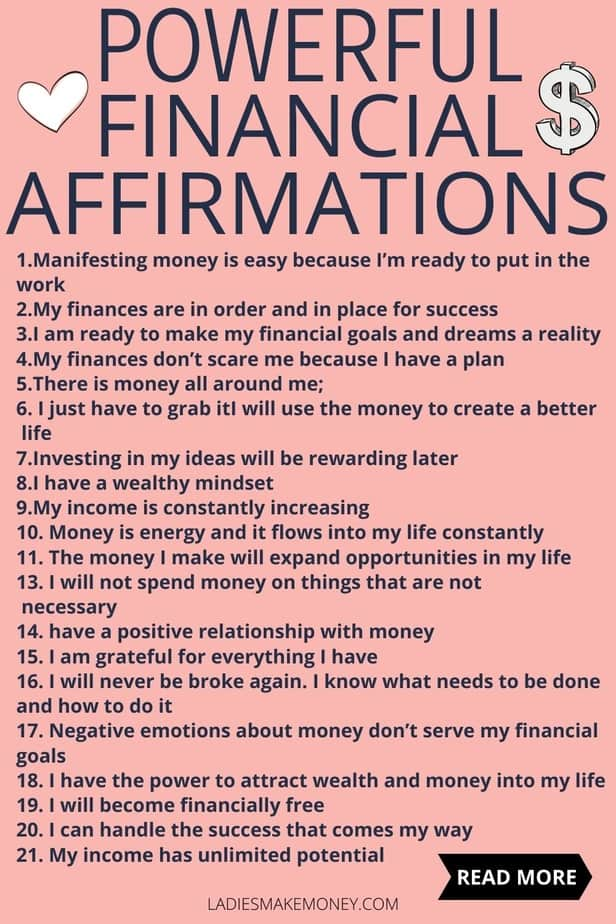 Powerful Financial Affirmations to attract money! I love these positive money affirmation mantras. Do these every day and watch how the law of attraction will manifest itself in your life. Practice gratitude and be grateful for the wealth you already have. No need to be a lottery winner, you can win with life with these daily money affirmations. Money affirmations law of attraction. positive money affirmations for wealth. manifest money affirmations into your life. powerful money affirmations mindset. money affirmations manifest saving morning