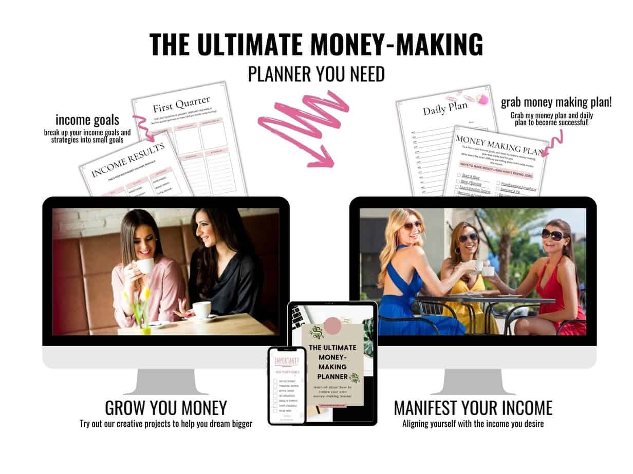 Grab this planner to help you make extra money from home today. It includes an income goal strategy, a money making plan and so much more.
