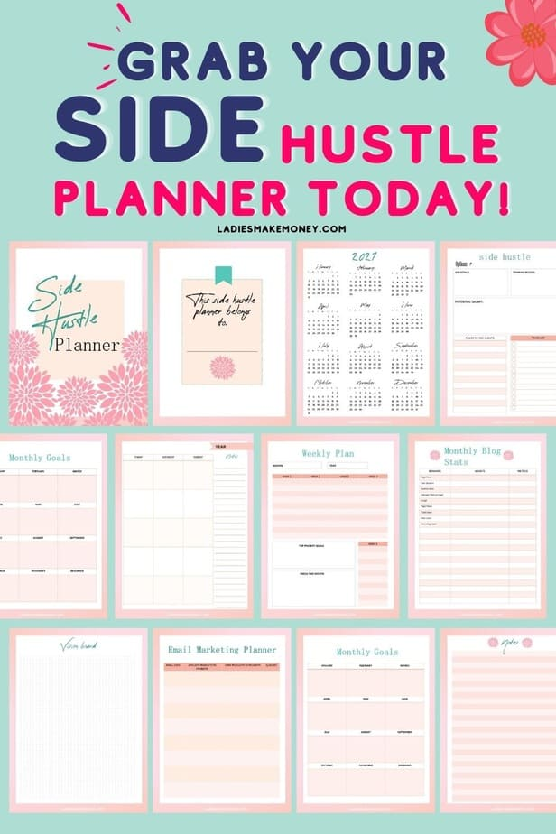 Take Your Side Hustle to the Next Level Running a side hustle but want more? The Ultimate Side Hustle Planner is the side hustle planning workbook you need to achieve your small business and solopreneur goals. Get ready to get organized, increase productivity, and take your side hustle to the next level.