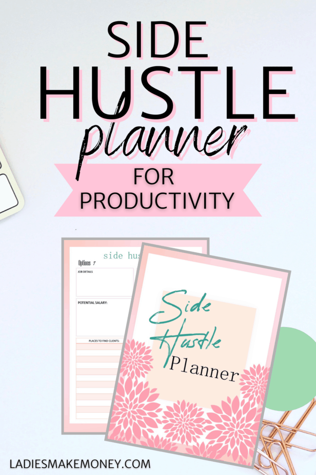 What are the best online side hustles? I suggest grabbing my side hustle planner to help you plan make more money on the side with your side hustle. Take Your Side Hustle to the Next Level using this side hustle planner today. Running a side hustle but want more? The Ultimate Side Hustle Planner is the side hustle planning workbook you need to achieve your small business and solopreneur goals. Get ready to get organized, increase productivity, and take your side hustle to the next level.